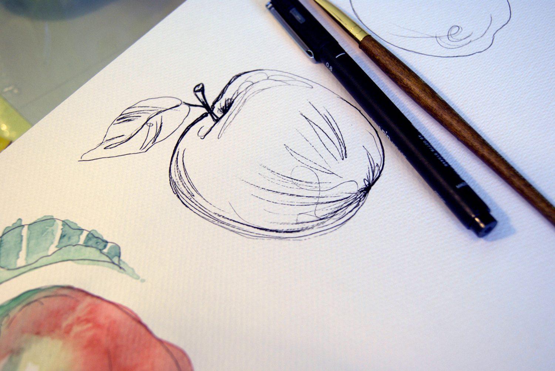 Eple laget med tusj