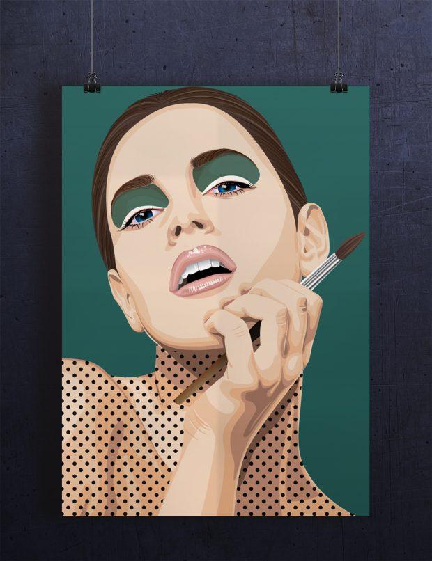 Portrett inspirert av Pop Art