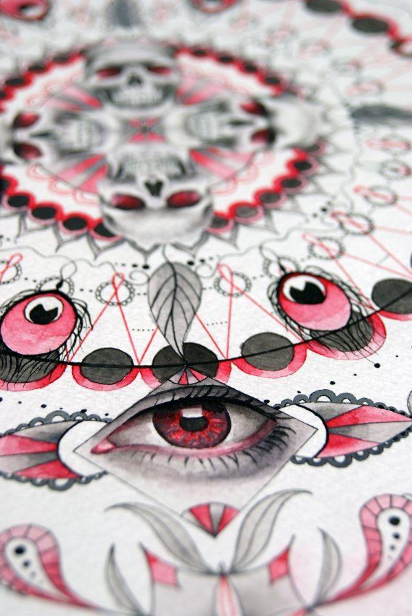 Akvarell maleri med et øye