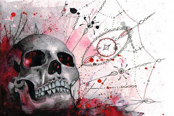Hodeskalle malt i røde akvarell farger