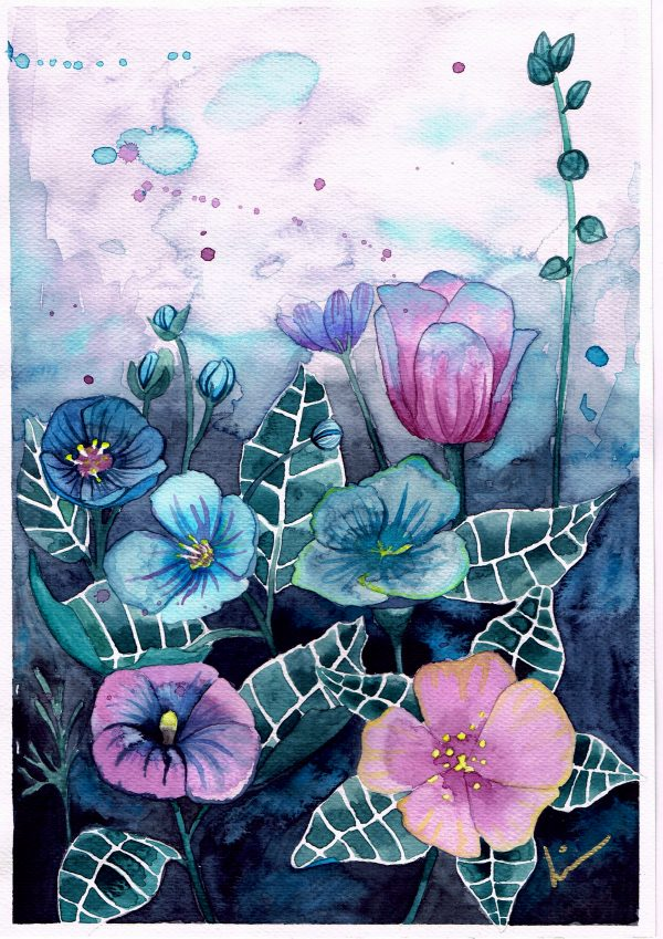 Blomster illustrasjon av akvarell
