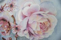 Rose og blomster av akvarell