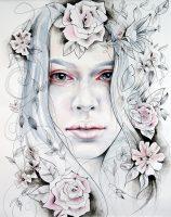 Stort akvarell portrett med blomster i tusj