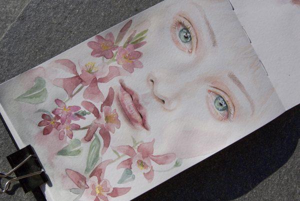 Maleri av en jente og blomster