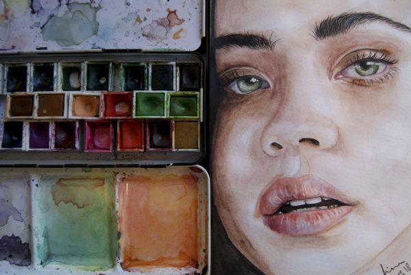 Portrett av akvarell i skisseboken