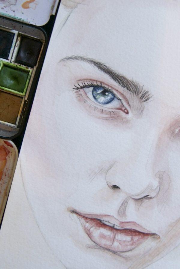Portrett av blyant og akvarell