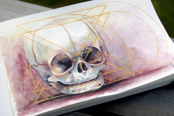 Akvarell av hodeskallen til en baby