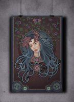 Art Nouveau portrett i blått og burgunder